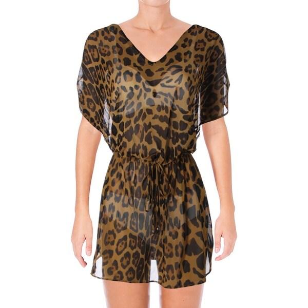 b0e6380e6159a Shop Lauren Ralph Lauren Womens Leopard Print Sheer Dress Swim Cover-Up -  Free Shipping On Orders Over  45 - Overstock - 22649348