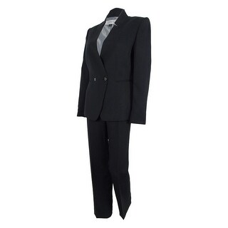 Tahari Women's Mike Two-Button Pant Suit - Black/White - 8