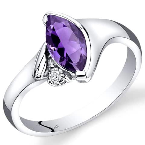 14 Karat White Gold Amethyst Diamond Ring Bezel Set 1.03 Carats