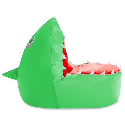 """Shark Filled Bean Bag Chair or Cover Only for Toddlers and Kids, Large 30"""""""