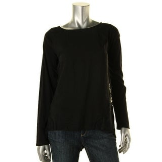 Two by Vince Camuto Womens Lace Inset Mixed Media Casual Top