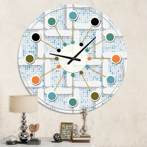 Designart '3D White and Light Blue Pattern I' Mid-Century wall clock