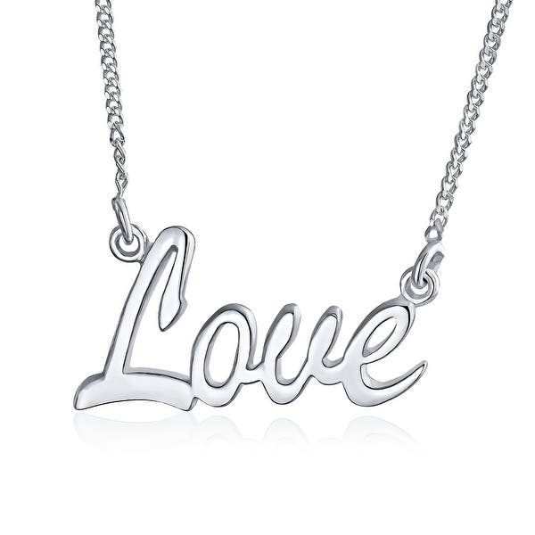 Shop Script Name Plated Style Pendant Necklace 925 Sterling Silver 16 Inch Overstock 17985945