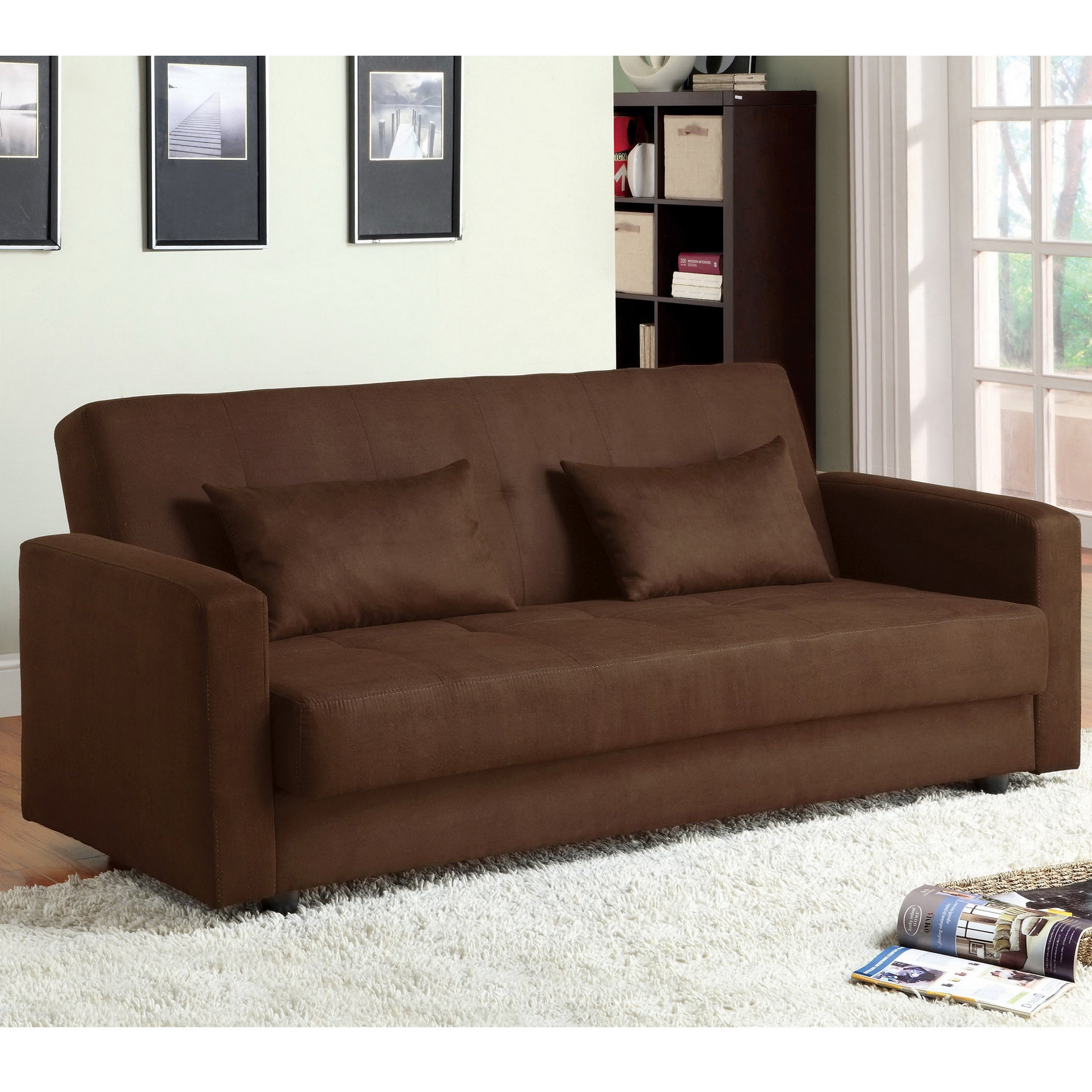 Picture of: Furniture Of America Cozy Contemporary Brown Fabric Futon Sofa Bed Overstock 6626826