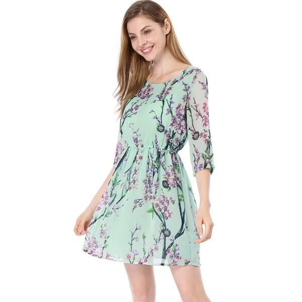 55d4433af9 Allegra K Women 3 4 Sleeves Round Neck Floral Print Above Knee Skater Dress
