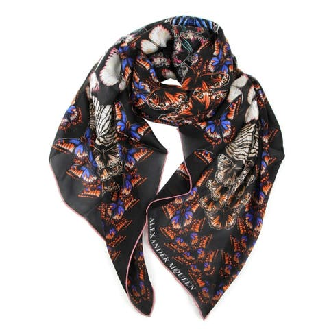 Alexander McQueen Women's Nero / Bronzo Satin Silk Metamorphosis Print Shawl 531338 1088 - One Size