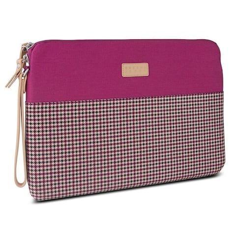 Greene + Gray Zippered Tablet/Laptop Sleeve Case for Microsoft Surface Pro 3 - Burgundy Houndstooth - Pink