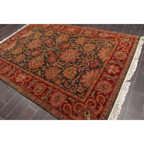 Hand Knotted Shah Abbassi Motif Green Red Persian Oriental Area Rug Wool Traditional Oriental Area Rug 6x9 6 X 8 10 On Sale Overstock 31524390