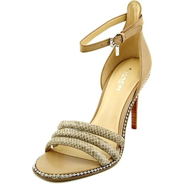 Coach Iliana Open-Toe Leather Heels