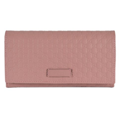 """Gucci Women's 449396 Soft Pink Leather Micro GG Continental Bifold Wallet - 7.5"""" x 4"""""""