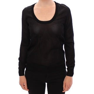 Dolce & Gabbana Black Crewneck Long Sleeve Sweater Top
