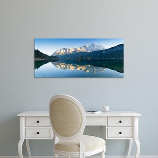 Easy Art Prints Panoramic Image 'Wetterstein Mountains, Zugspitze Mountain, Lake Eibsee, Bavaria, Germany' Canvas Art
