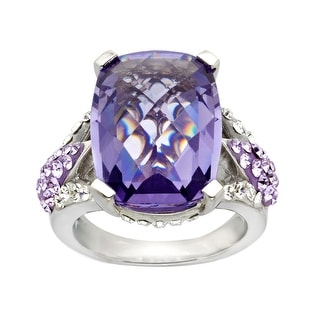 Crystaluxe Ring with Purple Swarovski Crystals in Sterling Silver