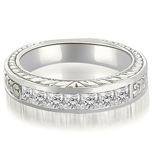 0.70 cttw. 14K White Gold Princess Diamond Vintage Wedding Band