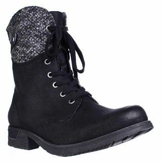 White Mountain Raymond Knit Cuff Ankle Booties - Black