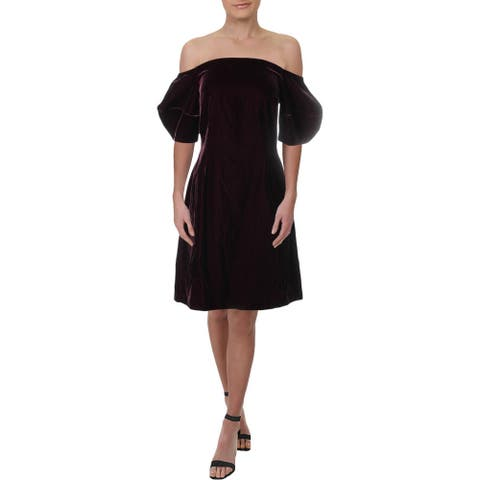 JILL Jill Stuart Womens Party Dress Off-The-Shoulder Vevlet