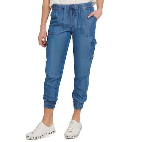 DKNY Women's Pants Blue Size Large L Utility Jeans Drawstring Jogger