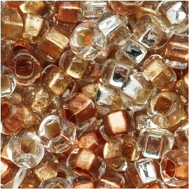 Czech Seed Beads 8/0 Crystal Metallic Foil Lined Mix (1 Ounce)