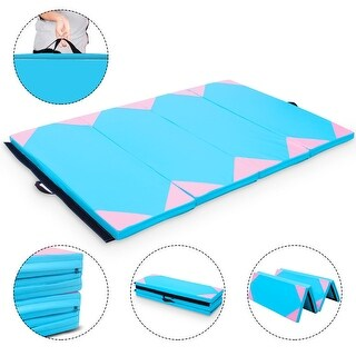 Costway 4'x6'x2'' Gymnastics Mat Thick Folding Panel Gym Fitness Exercise Blue & Pink