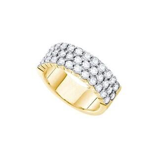 14k Yellow Gold Womens Natural Round Diamond 3-row Wedding Anniversary Band 2.00 Cttw - White