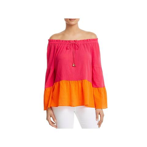 Donna Karan Womens Pullover Top Colorblock Off-The-Shoulder