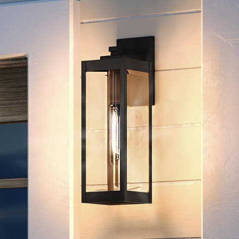 """Luxury Modern Farmhouse Outdoor Wall Light, 17""""H x 6""""W, with Industrial Style, Estate Bronze, UQL1351 by Urban Ambiance"""