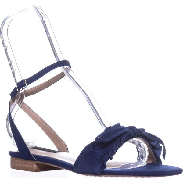 STEVEN Steve Madden Cassiel Flat Sandals, Blue Suede - 8.5 us