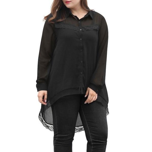 c1a69a55730 Shop Allegra K Women s Plus Size Lace Panel Hi-Lo Hem Sheer Chiffon ...
