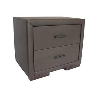 Greatime 15.5 x 22 in. Two Draws Vinyl Nightstand, Chocolate