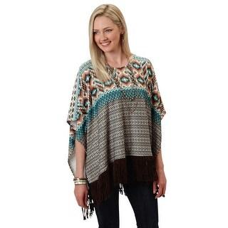Roper Western Sweater Womens 3/4 Sleeve Brown