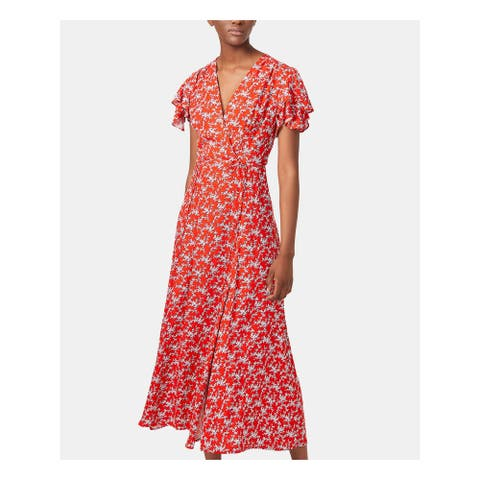 FRENCH CONNECTION Womens Red Floral Tea-Length Shift Dress Size 2