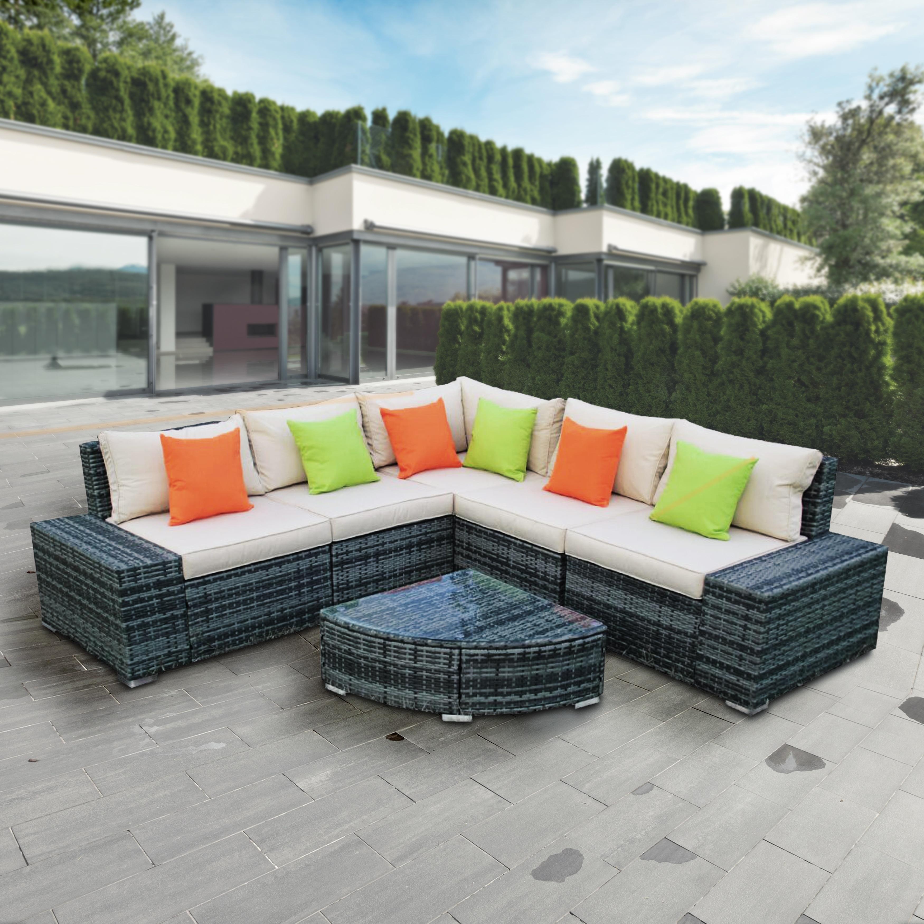 Aleko 6 Pcs Outdoor Patio Furniture Sectional Set Rattan Sofa With Pillows Overstock 31729653