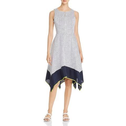 Donna Karan Womens Midi Dress Polka Dot Mixed Media - White