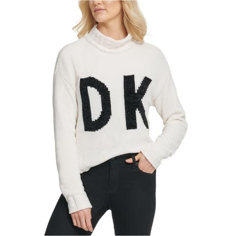 DKNY Women's Graphic Mock-Neck Sweater White Size Medium