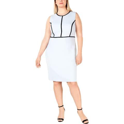 Kasper Womens Plus Wear to Work Dress Piping Suit Separate - Powder Blue/Black - 20W