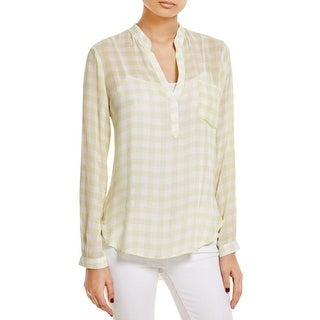 Side Stitch Womens Henley Top Checkered Long Sleeves - s