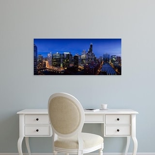 Easy Art Prints Panoramic Images's 'High angle view of skyscrapers lit up at night, Chicago, Illinois, USA' Canvas Art