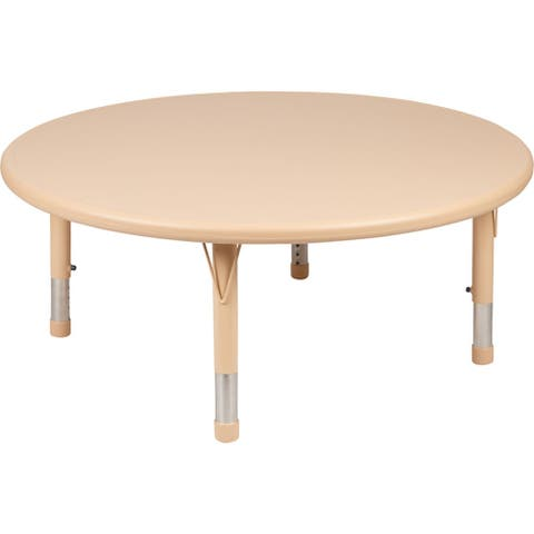 "Offex 45"" Round Height Adjustable Natural Plastic Activity Table"