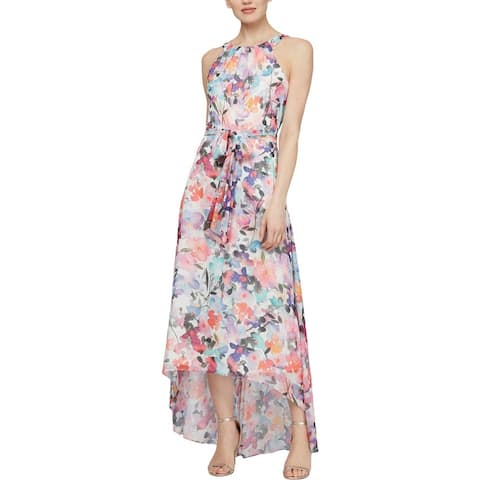 SLNY Womens Maxi Dress Metallic Printed - White/Multi
