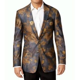 Tallia NEW Gold Charcoal Mens Size 38 Floral-Print Two Button Blazer