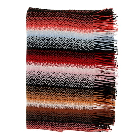 Missoni Autumn Red Long Fine Zigzag Fringe Scarf - 17/20-71