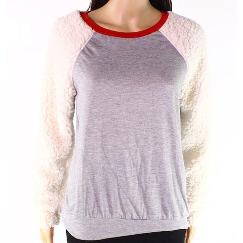 Moa Moa Gray White Womens Size Small S Mix-Media Pullover Sweater