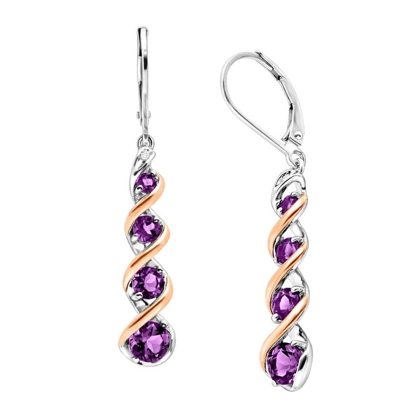 1 7/8 ct Natural Amethyst Drop Earrings with Diamonds in Sterling Silver & 14K Rose Gold - Purple