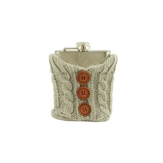 Stainless Steel Drinking Flask with Cozy Gray Knit Sweater with Brown Buttons - 7 oz
