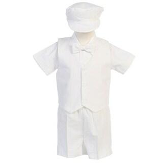 Boys White Vest Shorts Easter Ring Bearer Formal Suit 12M-4T