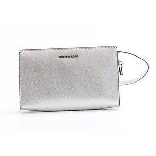 Michael Kors NEW Silver Saffiano Leather Large Crossbody Clutch Purse
