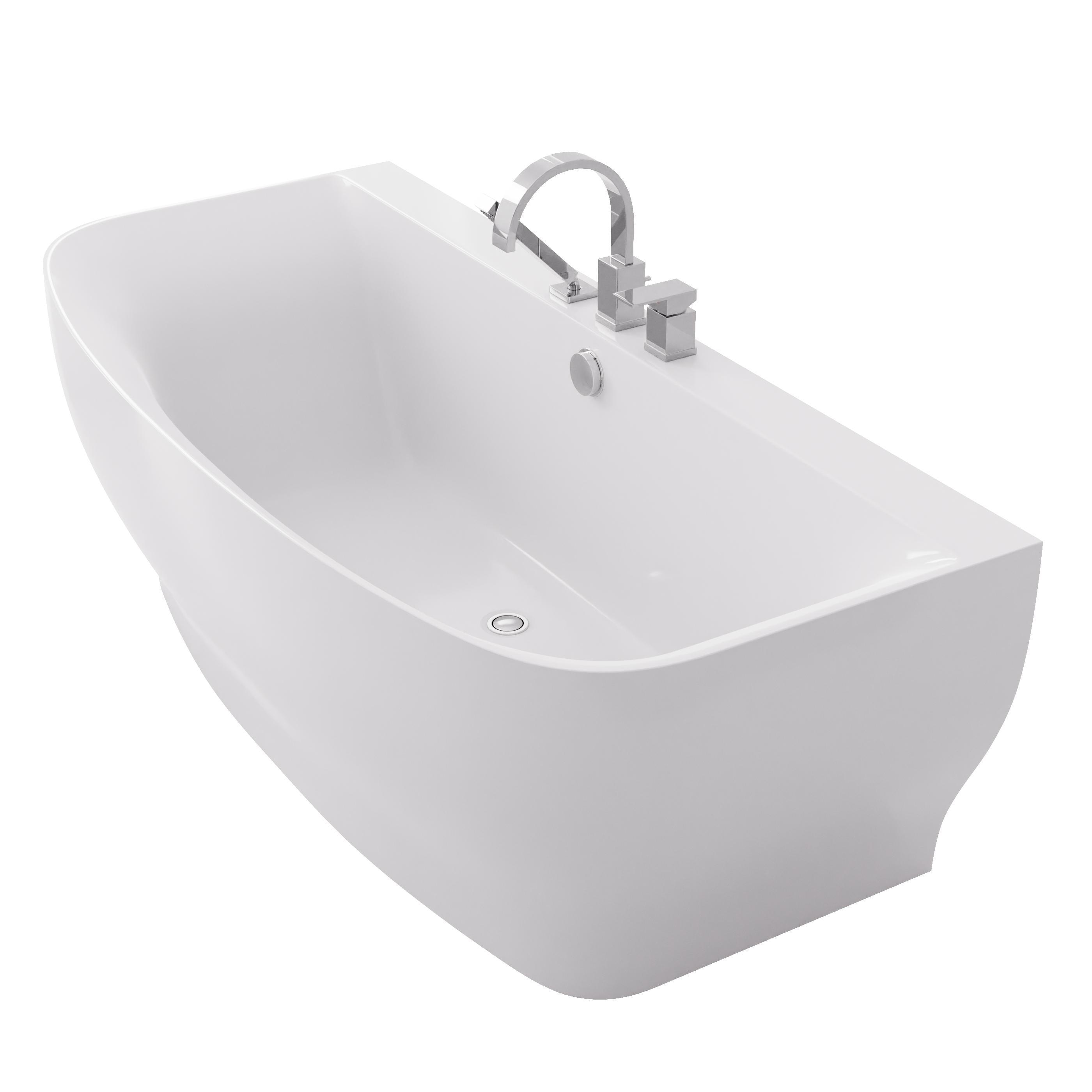 Shop ANZZI Bank Series White 65 in. Acrylic Freestanding Bathtub