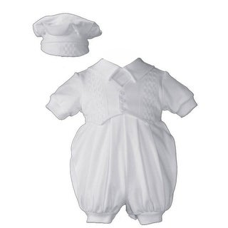 Baby Boys White Cotton Short Sleeves Hat Christening Coverall