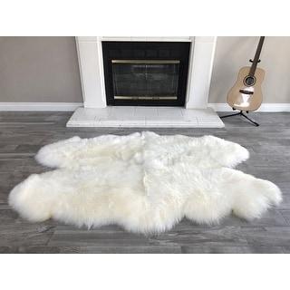"Link to Dynasty Natural 4-Pelt Luxury Long Wool Sheepskin Shag Rug - 3'6"" x 5'6"" Similar Items in Shag Rugs"