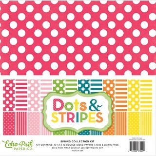 "Echo Park Double-Sided Collection Pack 12""X12"" 12/Pkg-Spring Dots & Stripes"